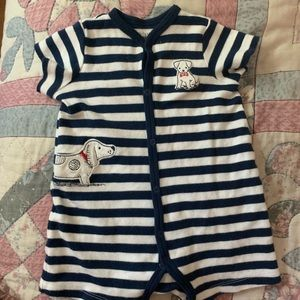 Little Me Shortall Outfit Blue Stripe Boy Size 9 M